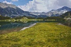 Amazing view to Muratovo lake and Banderishki chukar peak, Pirin Mountain Stock Images