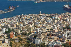 Amazing view to port of town of Ermopoli, Syros, Greece Stock Images