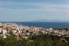 Amazing view to the sea. Looking the blue sky from the mountain in Kavala, Greece Stock Image