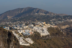 Amazing view to town of Fira and Prophet Elias peak, Santorini island, Thira, Greece Royalty Free Stock Photos