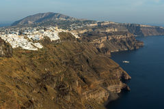 Amazing view to town of Fira and Prophet Elias peak, Santorini island, Thira, Greece Royalty Free Stock Images