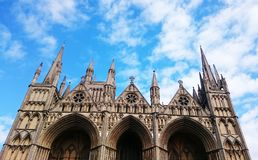 Peterborough Cathedral. An amazing view of the top of the cathedral which is located in Peterborough United Kingdom Royalty Free Stock Images