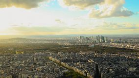 Amazing view from the top of Eiffel tower on sunset. stock video footage
