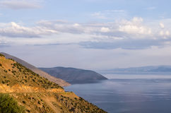 Amazing view from the top of a mountain down to the sea, close to Itea, Greece Stock Photography