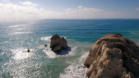 Amazing view of turquoise ocean and rocks stock footage