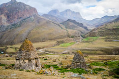 The amazing view of the valley because of the crypts. In Kabardino-Balkaria Royalty Free Stock Photography