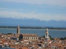 Venezia with sea and mountain stock photography