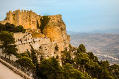Amazing view of Venus Castle situated on Erice Mountain, Sicily, Italy. stock image