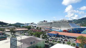 Amazing view via Saint Thomas island,view of the port and cruise ships;Saint Thomas, U.S. Virgin Islands. 1st of December, 2016 stock footage