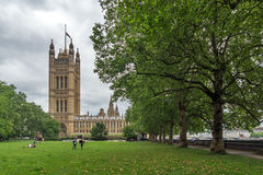 Amazing view of Victoria Tower Gardens and Houses of Parliament, London, United Kingdom Royalty Free Stock Images