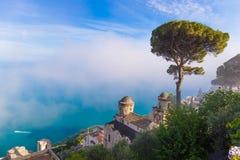 Amazing view from villa Rufolo, Ravello town, Amalfi coast, Campania, South of Italy royalty free stock photography