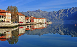 Amazing view of the village in bay of Kotor Royalty Free Stock Image
