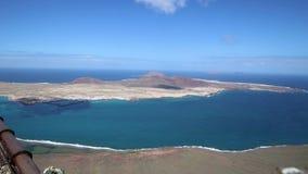 Amazing view on the volcanic coastline and Isla Graciosa from Mirador del Rio vista, Lanzarote stock footage