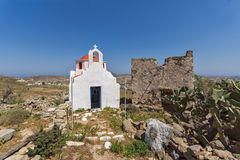 Amazing view of White church with red roof on Mykonos island, Greece Royalty Free Stock Images