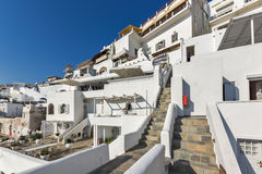 Amazing view with White houses in Fira, Santorini island, Thira, Greece Stock Photos