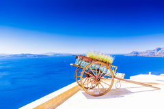 Amazing view with white houses in Oia village. Royalty Free Stock Photography