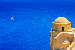 Amazing view with white houses in Oia village. Royalty Free Stock Images