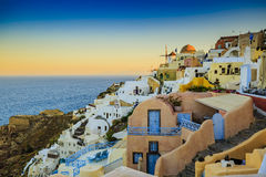Amazing view with white houses in Oia village. Stock Images