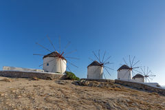 Amazing view of White windmills on the island of Mykonos, Greece Stock Image