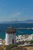 Amazing view of White windmills on the island of Mykonos, Greece Stock Photography