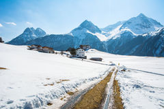 Amazing view of winter wonderland mountain scenery with traditio Stock Image