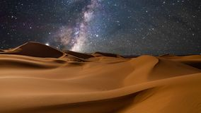 Amazing views of the desert under the night starry sky. Timelapse.