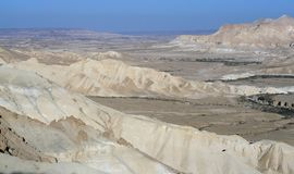 Amazing views of Ein Avdat and Zin Valley in summer sunny day. Negev. Desert and semidesert region of southern Israel royalty free stock images