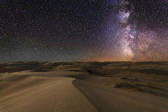 Amazing views of the Gobi desert under the  starry sky. Stock Photo