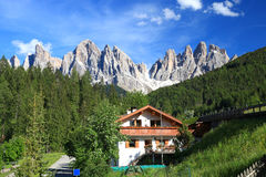 Amazing views of the Odle Mountains in Dolomites, Italy Royalty Free Stock Images