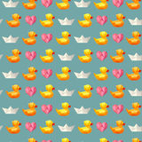 Amazing vintage duck blue pattern with hearts and paper ship Stock Photos