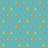 Amazing vintage duck blue pattern with hearts Stock Photo