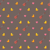 Amazing vintage duck brown pattern with hearts and guitars Royalty Free Stock Photography