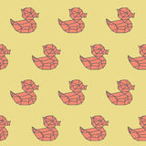 Amazing vintage duck yellow polygon pattern Royalty Free Stock Photography