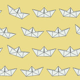 Amazing vintage yellow paper ship pattern Stock Photo