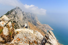 Amazing Vista from the top of the Rock of Gibraltar Stock Photos
