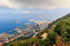 Amazing Vista from the top of the Rock of Gibraltar Royalty Free Stock Images