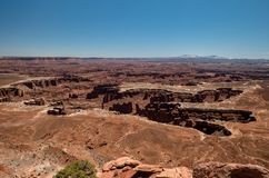 Amazing vistas and scenary from the grand view point in the Canyonlands National Park. Canyonlands National Park, USA - APRIL 15, 2019: View of amazing vistas stock photos