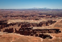 Amazing vistas and scenary from the grand view point in the Canyonlands National Park. Canyonlands National Park, USA - APRIL 15, 2019: View of amazing vistas stock image