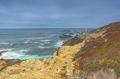 Amazing Vivid View of Blooming Area of Pacific Coastline. Shot on Famous Highway Number 1 Stock Image