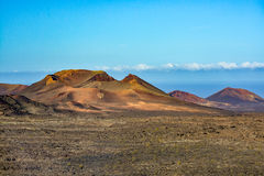Amazing volcanic landscape of Lanzarote island, Timanfaya national park royalty free stock photography