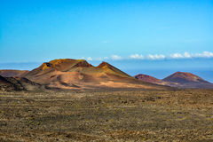 Amazing volcanic landscape of Lanzarote island, Timanfaya national park Stock Photos