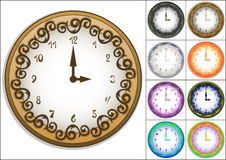 Amazing wall clock decorated with ornate pattern. Cartoon volume clock with hand drawing numbers, 9 colors, vector illustration, eps10 Stock Images
