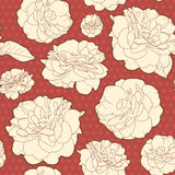 Amazing warm red seamless rose floral pattern with dots Stock Photography
