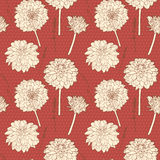 Amazing warm red seamless small aster floral pattern with dots Stock Photo