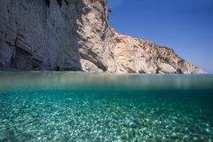 Amazing water. Amazing blue water at zakynthos Royalty Free Stock Photography
