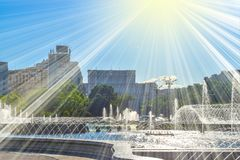 Amazing water fountains in the Downtown of Bucharest City in the Union`s Square or Piata unirii stock photos
