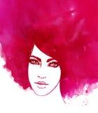 Amazing watercolor portrait of beautiful women Royalty Free Stock Image