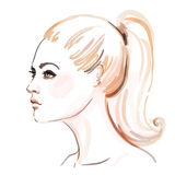 Amazing watercolor portrait of beautiful women Royalty Free Stock Images