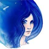 Amazing watercolor portrait of beautiful women. Fashion illustration Stock Photo