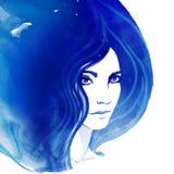 Amazing watercolor portrait of beautiful women Royalty Free Stock Photos